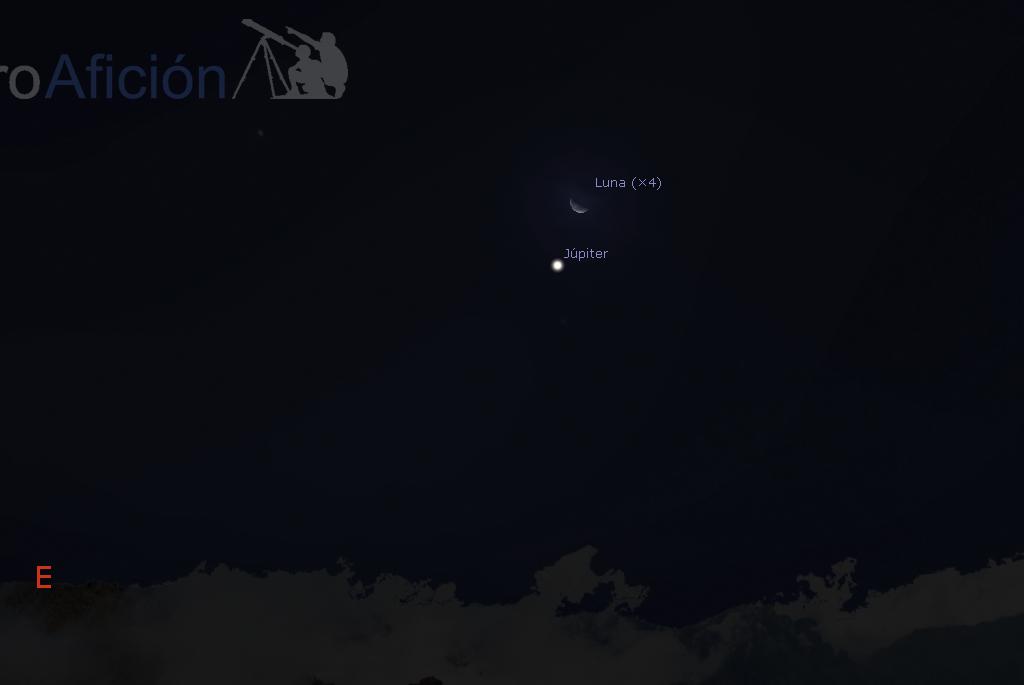 Conjunción Júpiter - Luna