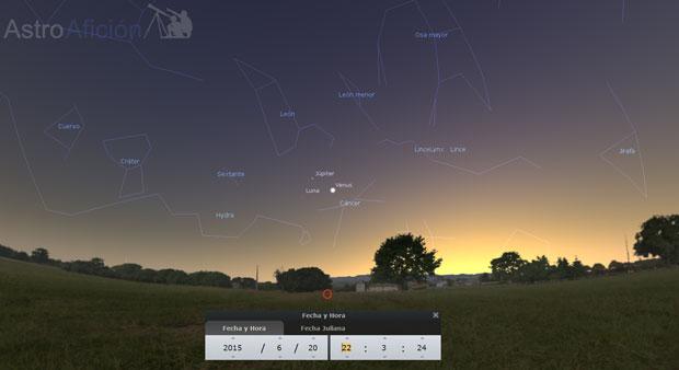 Conjunción Júpiter venus Luna