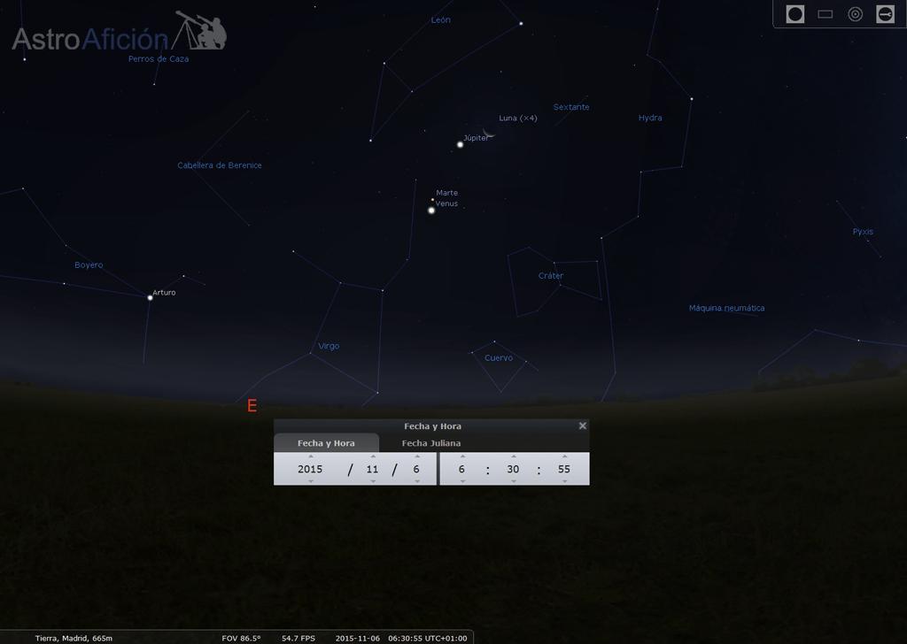 6 de noviembre conjunción Luna - Júpiter