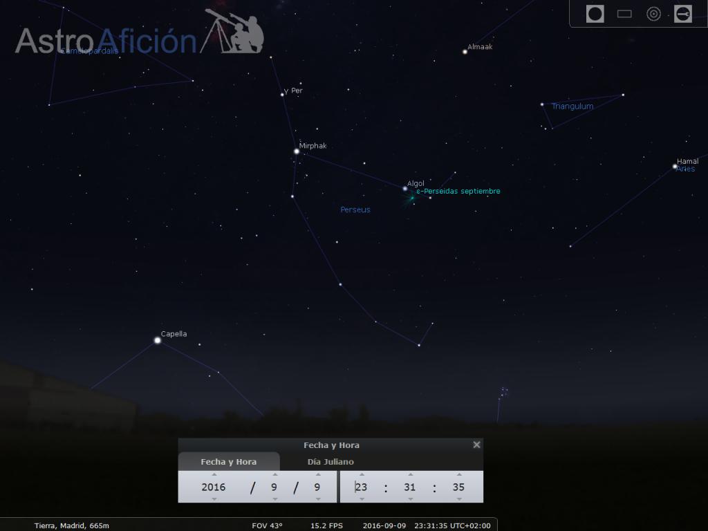 Lluvia de meteoros epsilon perseidas de septiembre
