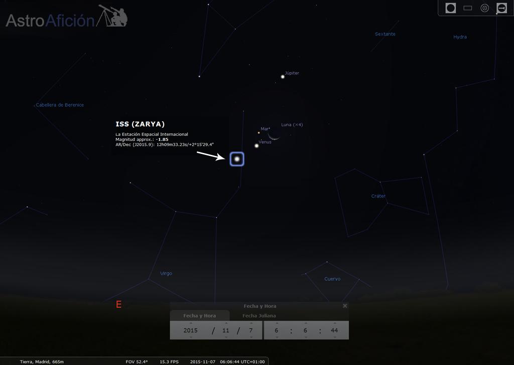 7 de noviembre conjunción  con ISS