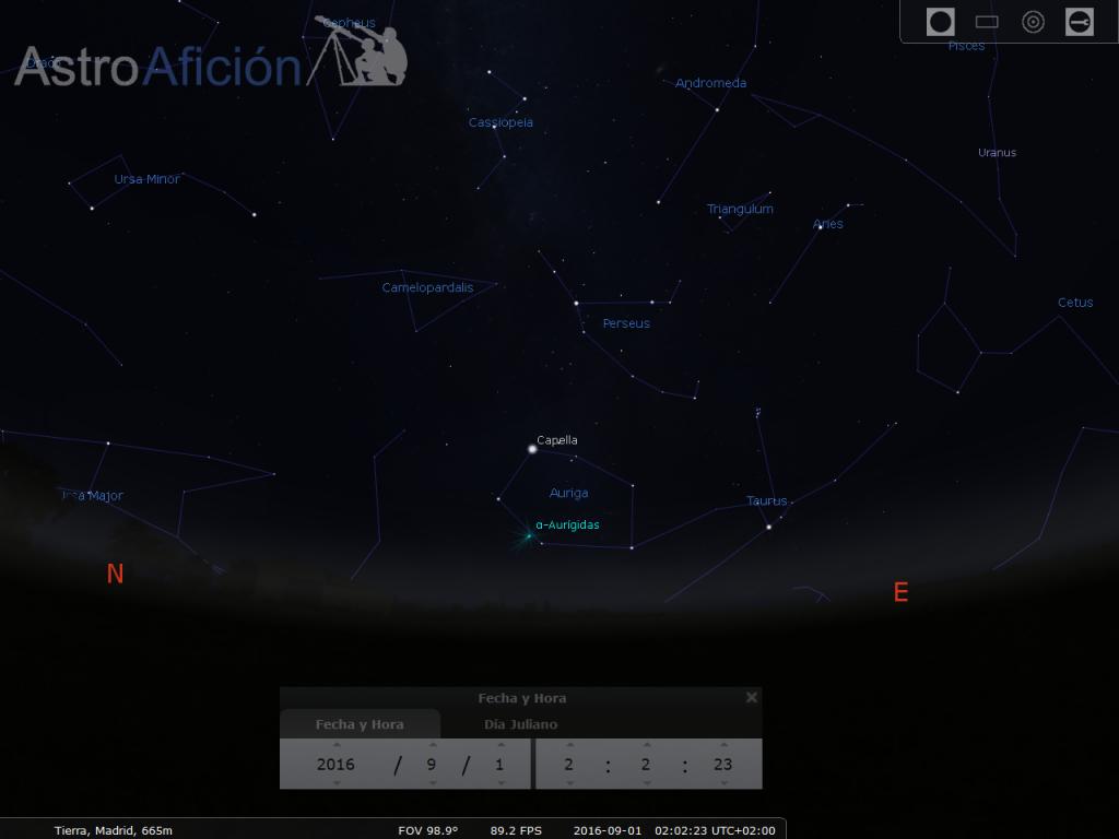 Lluvia de meteoros alfa-aurígidas.