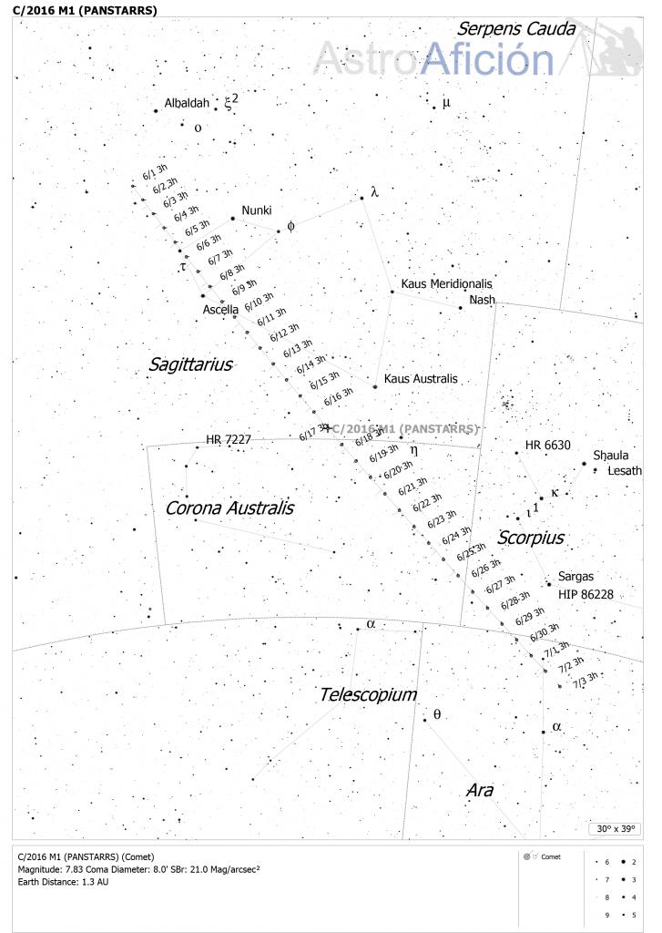 Carta de localización del cometa C/2016 M1 PANSTARRS en junio de 2018