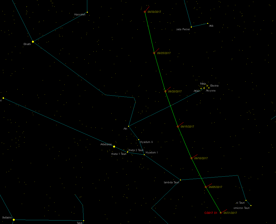 Carta de localización de C/2017 O1 ASASSN en septiembre de 2017