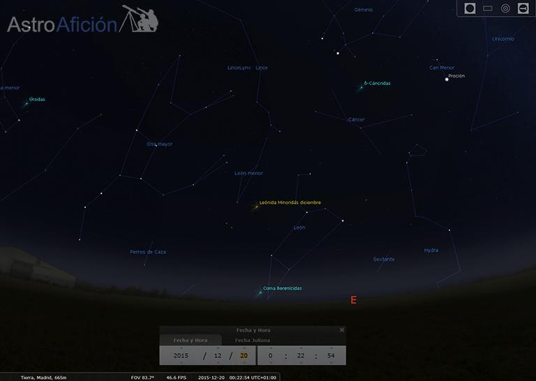 Radiante de la lluvia de meteoros Leónidas Minóridas de Diciembre