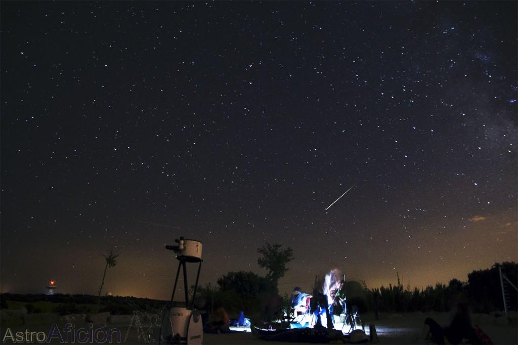 Estrella fugaz capturada durante la observación de las Perseidas 2013. AstroAfición