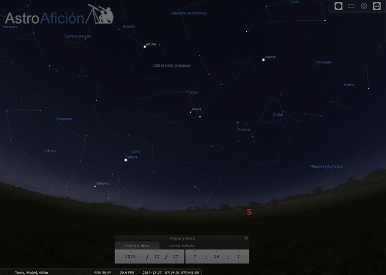 Alineación planetaria y cometa Catalina