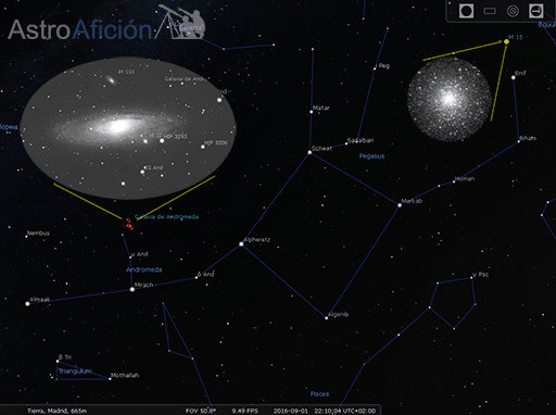 Constelaciones de Andromeda y Pegasus