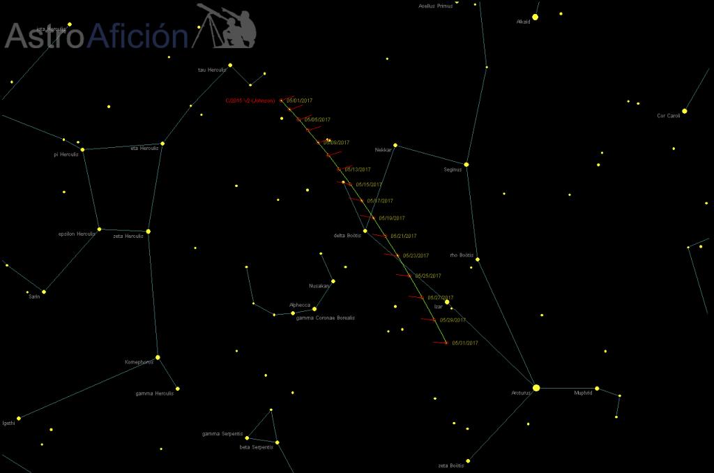 Localización de C/2015 V2 (Johnson) Mayo 2017. Generado con C2A