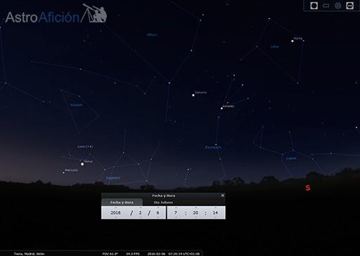 Conjunción Luna-Venus y alineamiento planetario