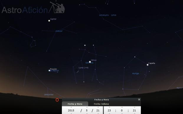 Conjunción aparente de la Luna y Venus