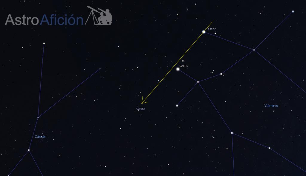 Guía de localización del asteroide.