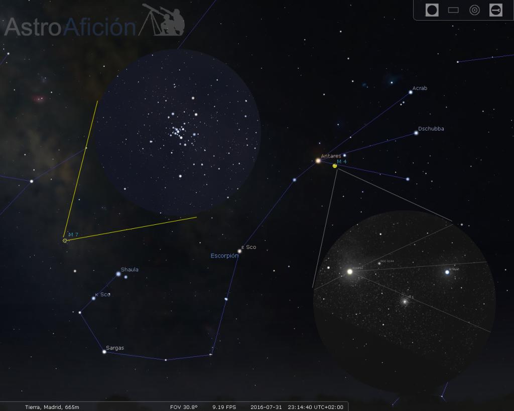 Cúmulos de M4 y M7 y su localización en las constelaciones.