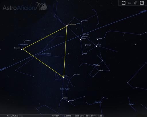 Triángulo de invierno y constelaciones del mito de Orión