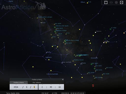 Objetos cielo profundo de la zona central de la Vía Láctea
