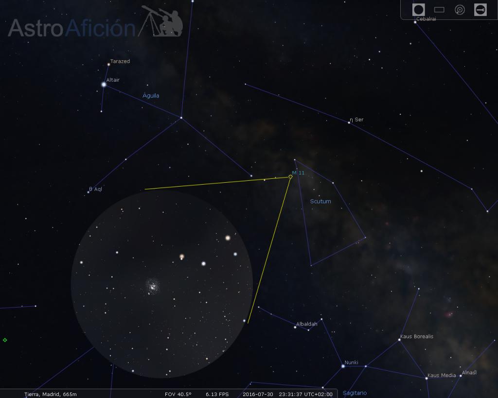 Cúmulo Patos Salvajes en l constelación del Escudo