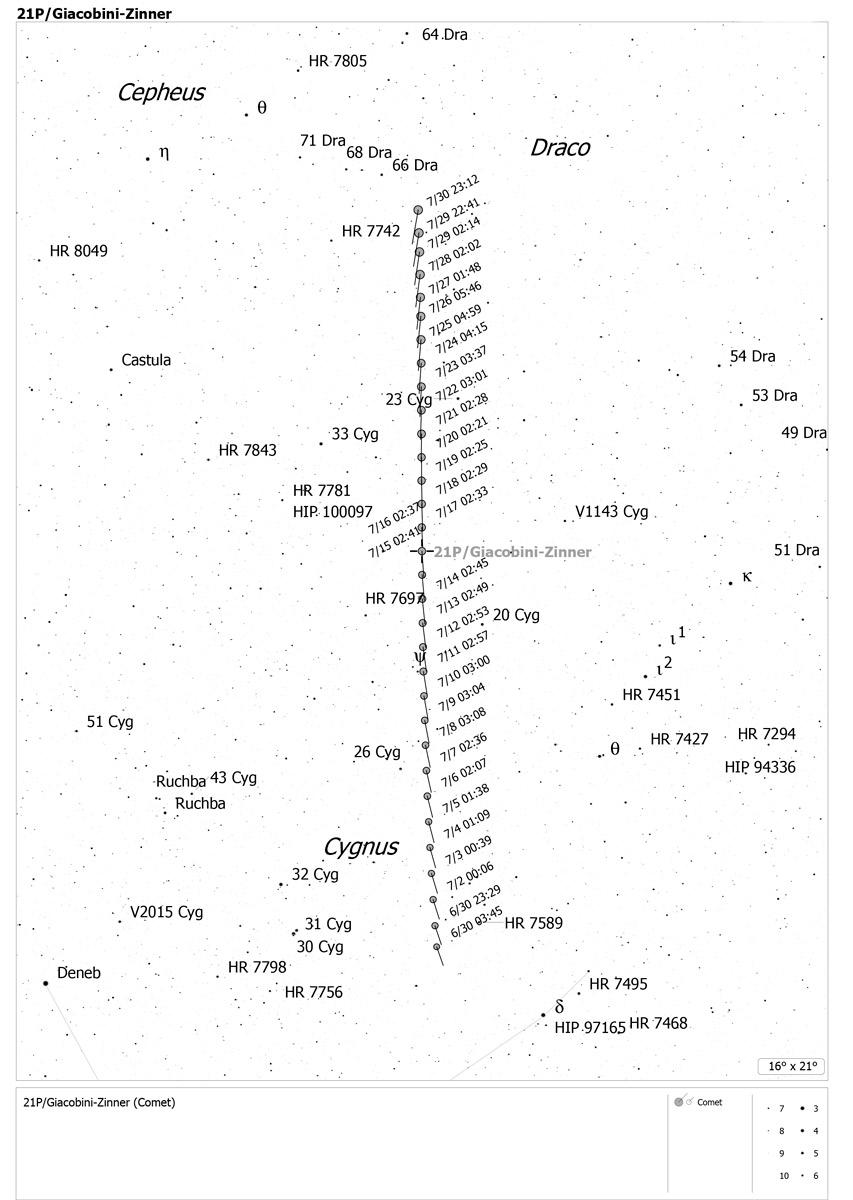 Localización del cometa 21P/Giacobini-Zinner en julio de 2018