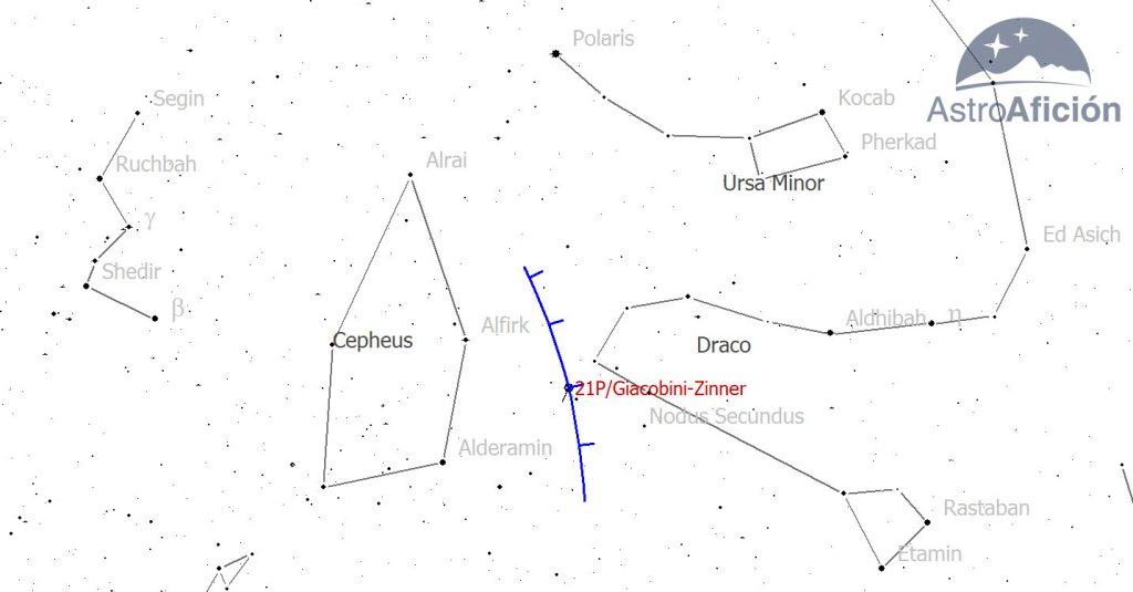 Mapa localización cometa 21P/Giacobini-Zinner