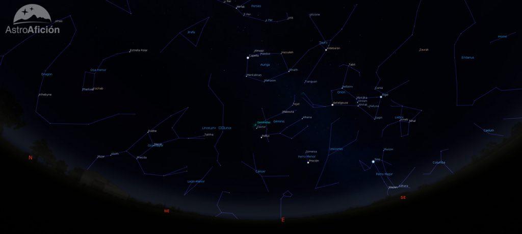 Radiante de la lluvia de meteoros de las Gemínidas