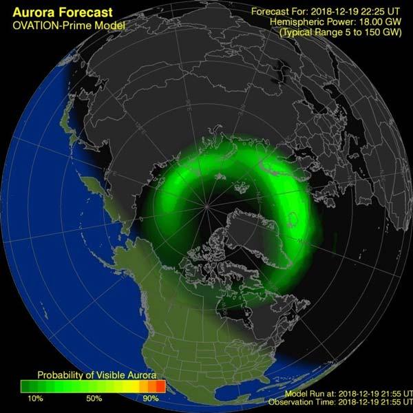 Aurora alrededor del Círculo Polar Ártico