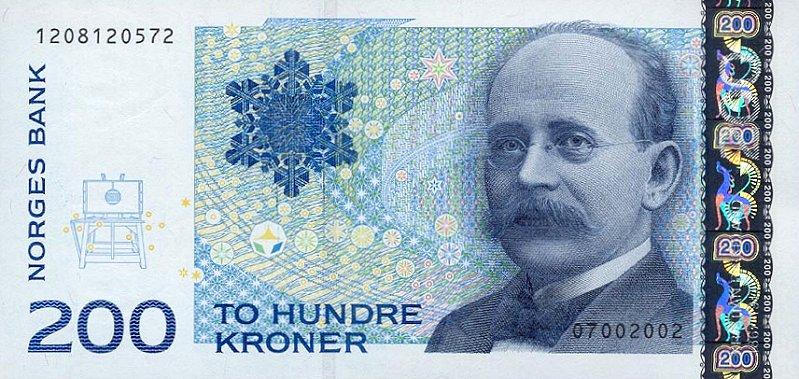 Kristian Birkeland en el billete de 200 coronas noruegas