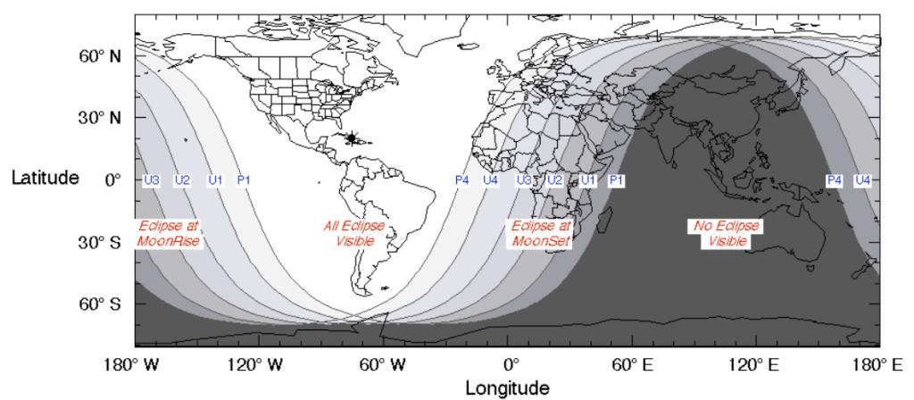 Mapa de visibilidad del eclipse lunar del 21 de enero de 2019