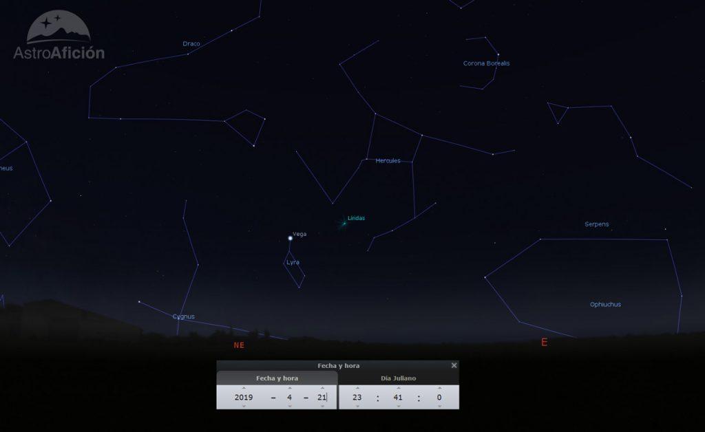 Radiante de la lluvia de meteoros de las Líridas (LYR) Abril de 2019