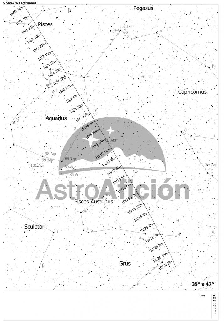 Carta de localización del Cometa C/2018 W2 (Africano) en octubre de 2019