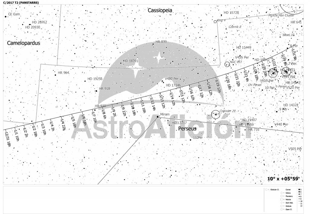 Carta localización cometa C72017 T2 (Panstarrs). Enero 2020