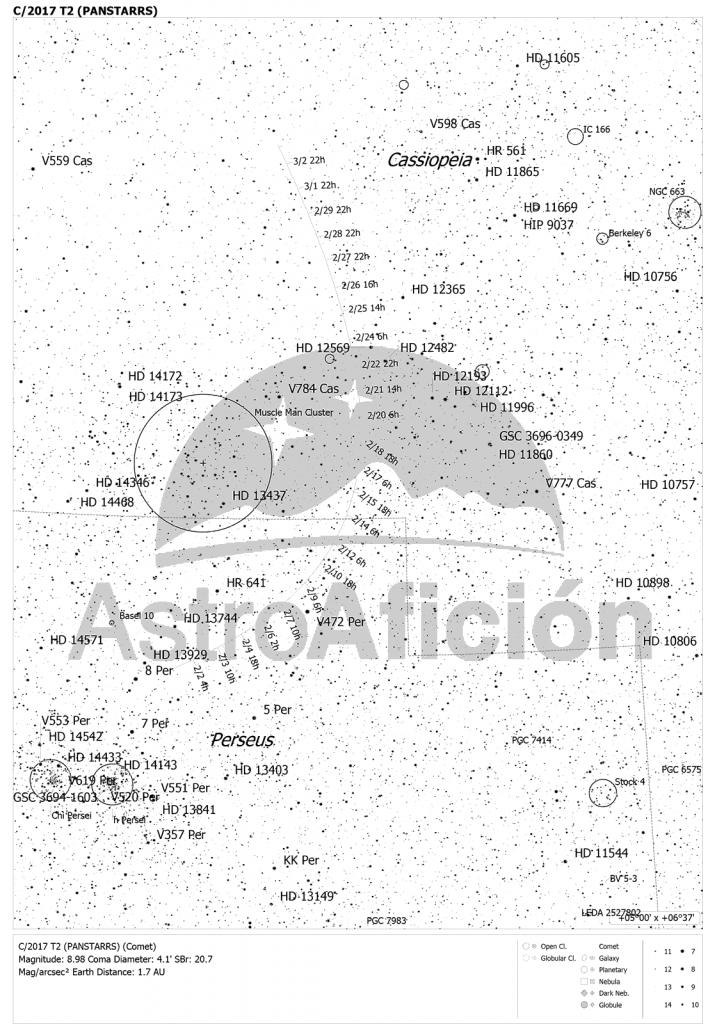 Carta de localización del Cometa C/2017 T2 (PANSTARRS) en febrero de 2020