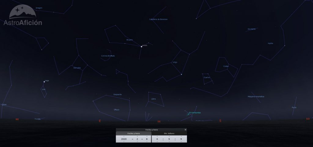 Radiantes de las lluvias de meteoros de febrero de 2020