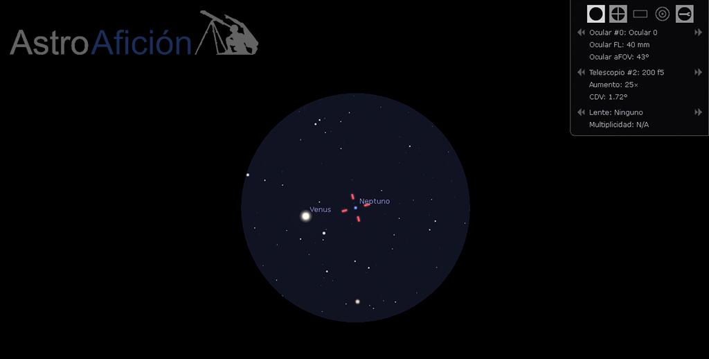 Venus y Neptuno al ocular del telescopio